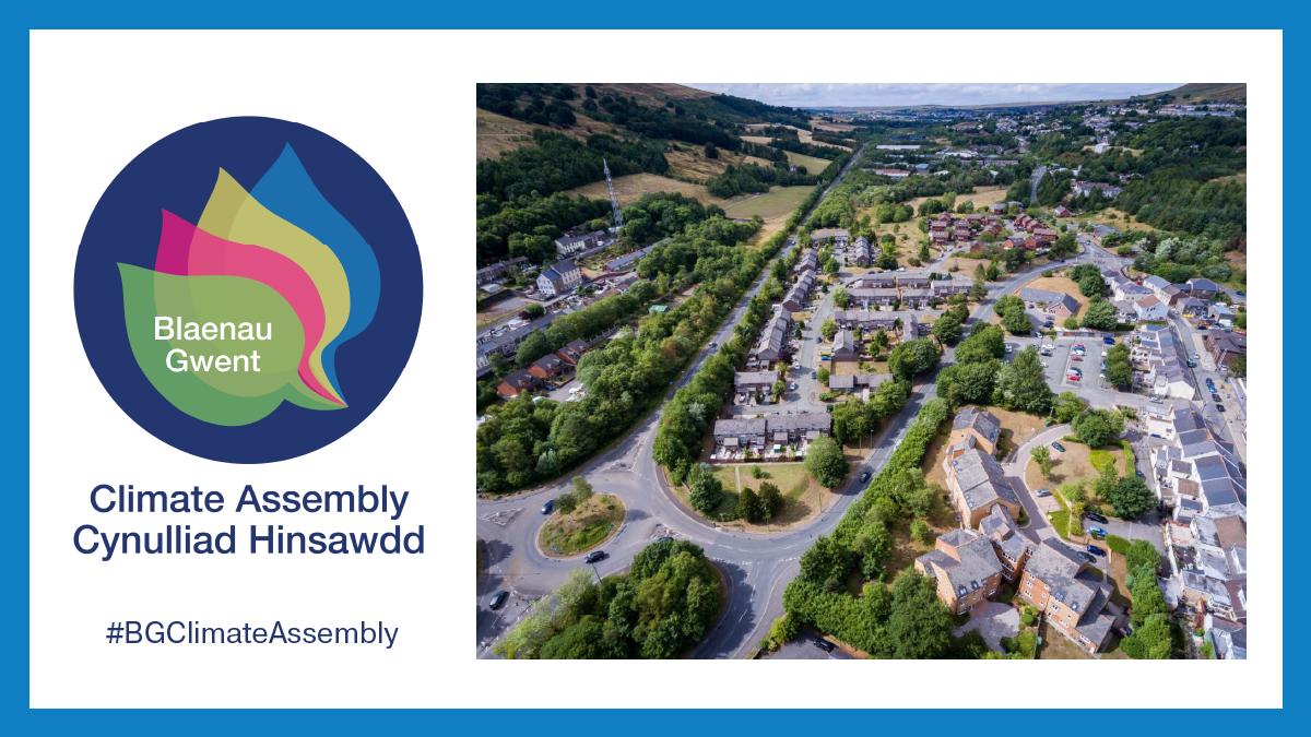 Blaenau Gwent Climate Assembly logo and a birds-eye view photo of Blaenau Gwent