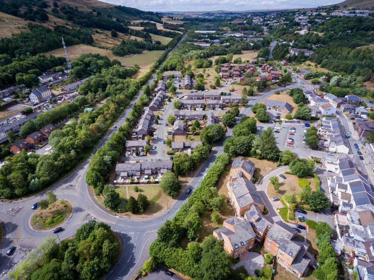 A view of Blaenau Gwent from the sky