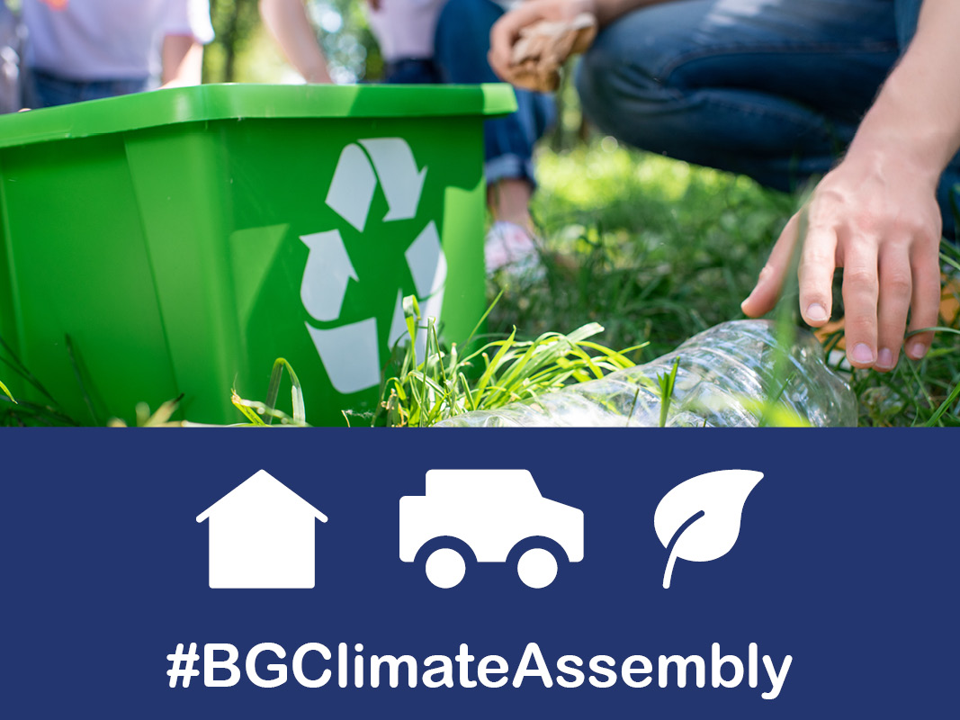 Blaenau Gwent Climate Assembly recycling box with car house and leaf icons
